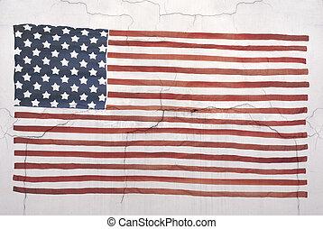 American national flag on wall