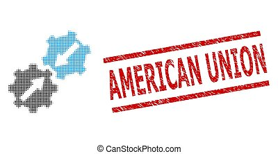 Gear integration halftone dotted pictogram and American Union dirty seal. Seal includes American Union caption between parallel lines.