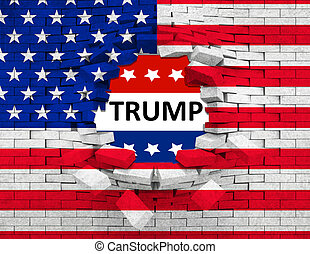 closeup of grunge American USA flag broken crack wall with hole and word trump, united states of america, vote for president trump concept