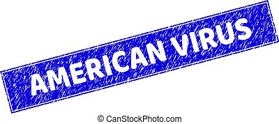 Grunge AMERICAN VIRUS Scratched Rectangle Stamp