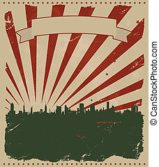 grunge, americano, cartaz