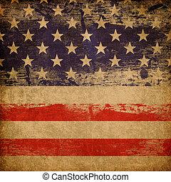 grunge, americano, patriótico, tema, experiência.