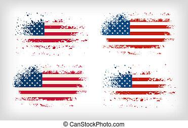 grunge, amerikaan, splattered, vlag, inkt