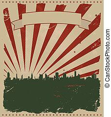 grunge, amerikan, affisch
