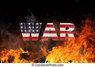 grunge, amerikan flagga, krig, begrepp, med, eld, flames.