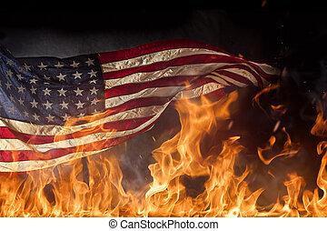 grunge, amerikan flagga, krig, begrepp