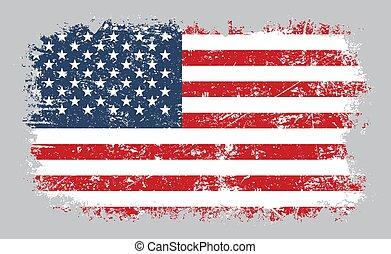 grunge, amerykanka, ilustracja, bandera, wektor, stary