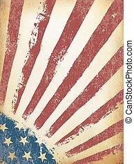 grunge, amerykanka, tło., bandera, wektor, sędziwy, template.