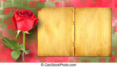 Grunge ancient used paper in scrapbooking style with roses on th