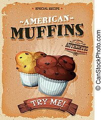 Grunge And Vintage American Muffins Poster - Illustration of...
