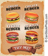 Illustration of a design vintage and grunge textured poster, with burger sandwiches, for fast food snack and takeaway menu