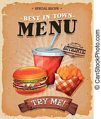 Illustration of a design vintage and grunge textured poster, with burger, cup of soda to drink, and french fries icon, for fast food snack and takeaway menu