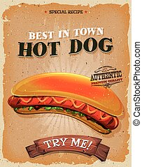 Illustration of a design vintage and grunge textured poster, with appetizing hot dog burger icon, for fast food snack and takeout menu