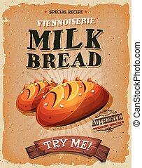 Illustration of a design vintage and grunge textured poster, with appetizing french milk bread bread, french specialty icon, for breakfast and bakery food