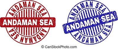 Grunge ANDAMAN SEA Scratched Round Stamps