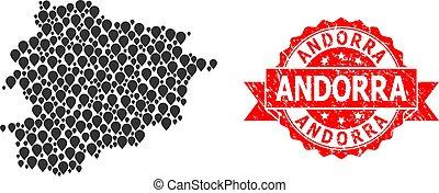 Grunge Andorra Seal and Mark Mosaic Map of Andorra - Pointer...