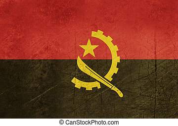 Grunge sovereign state flag of country of Angola iin official colors.