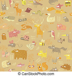 grunge, animais, seamless, padrão