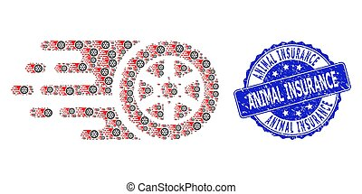 Grunge Animal Insurance Round Seal Stamp and Fractal Tire Wheel Icon Composition