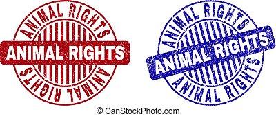 Grunge ANIMAL RIGHTS Textured Round Stamp Seals - Grunge...