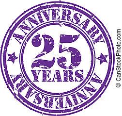 grunge, anni, anniversario, 25, gomma