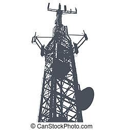 grunge, antenna, elszigetelt, ábra, egyedülálló, vektor, háttér