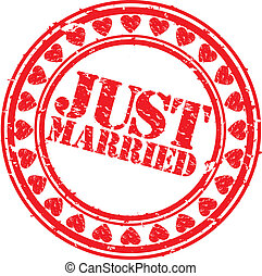 grunge, apenas casado, estampilla, caucho, v