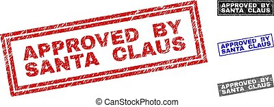 Grunge APPROVED BY SANTA CLAUS Scratched Rectangle Stamp Seals