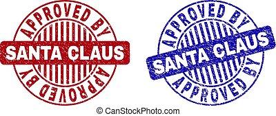 Grunge APPROVED BY SANTA CLAUS Textured Round Stamp Seals