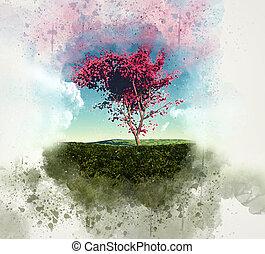 grunge, arbre, érable, paysage, 3d