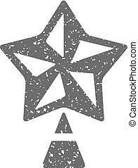 grunge, -, arbre, étoile, noël, icône