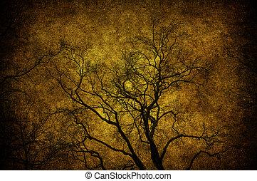 grunge, arbre