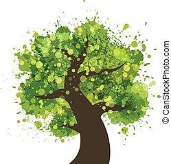 grunge, arbre, coloré