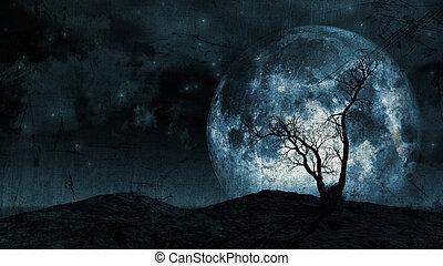 grunge, arbre, fond, lune