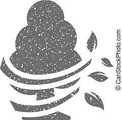 grunge, -, arbre, icône