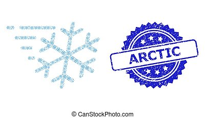 Grunge Arctic Stamp and Recursive Frost Wind Icon Collage - ...