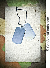 Grunge army background with ID tags