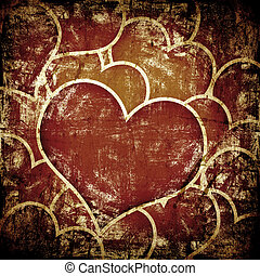 grunge art background with hearts