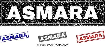 Grunge ASMARA Textured Rectangle Stamps