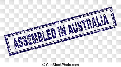 Grunge ASSEMBLED IN AUSTRALIA Rectangle Stamp