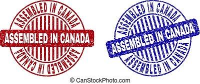 Grunge ASSEMBLED IN CANADA Textured Round Stamp Seals