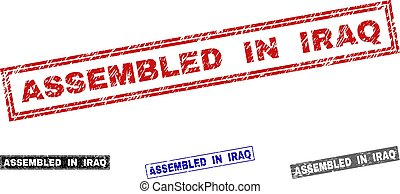 Grunge ASSEMBLED IN IRAQ Textured Rectangle Stamps