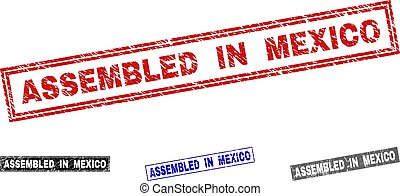 Grunge ASSEMBLED IN MEXICO Textured Rectangle Stamps