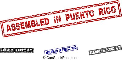 Grunge ASSEMBLED IN PUERTO RICO Textured Rectangle Stamps