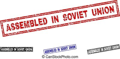 Grunge ASSEMBLED IN SOVIET UNION Textured Rectangle Stamps