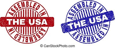 Grunge ASSEMBLED IN THE USA Textured Round Stamps