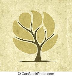 grunge, astratto, albero, carta, disegno, tuo