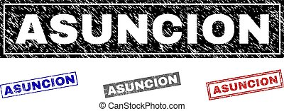 Grunge ASUNCION Textured Rectangle Stamp Seals