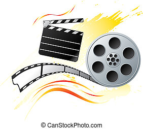 Grunge at cinema - Movie reel at bright orange background in...