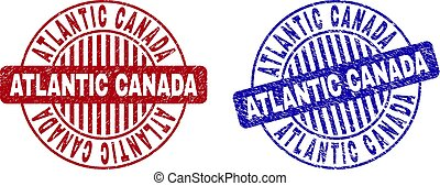 Grunge ATLANTIC CANADA Scratched Round Stamps